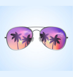 aviator sunglasses with palms reflection vector image