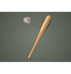 Baseball bat with ball vector