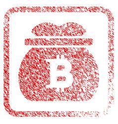 Bitcoin money bag framed stamp vector