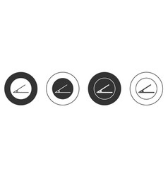 Black acute angle 45 degrees icon isolated on vector