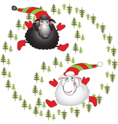 Black and white cartoon sheeps on a white vector