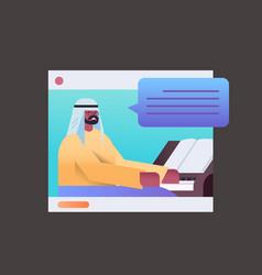 Black muslim man playing piano in web browser vector