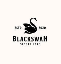 black swan logo template logo vector image