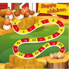 Boardgame template with chicken in the farm vector