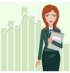Business woman on chart sales background vector