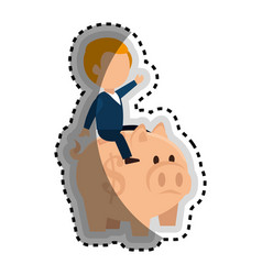 Businessman character avatar with piggy vector