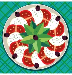 Caprese salad on plate vector