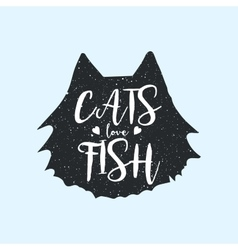 Cats love fish cute or fun t-shirt print design vector image
