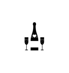 champagne bottle with wine glasses solid icon vector image vector image