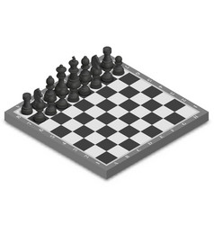 chessboard with photorealistic pieces isometric vector image