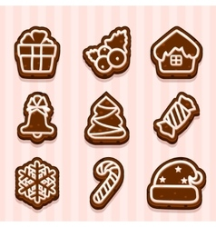 Chocolate cookies for christmas and new year vector