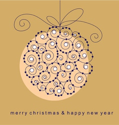 christmas card with ball vector image