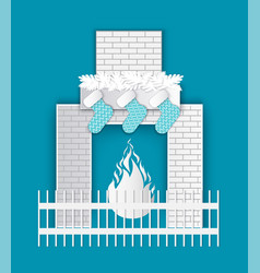 christmas paper cut fireplace decorations vector image