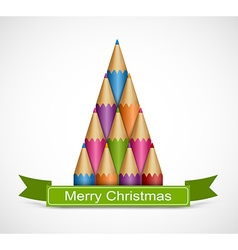 Christmas tree of colored pencils Background vector image