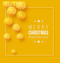 christmas yellow baubles with geometric pattern vector image