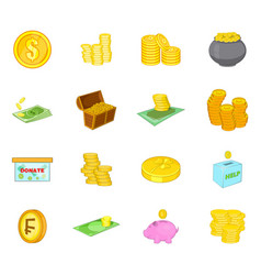 coin icon set cartoon style vector image