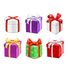 Colorful gift boxes with bows and ribbons vector