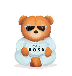 cool teddy bear in sunglasses bossy look fun print vector image