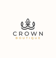 crown floral logo template logo template vector image