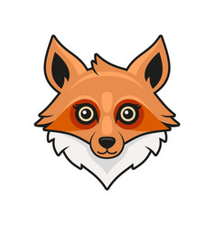 cute fox face cartoon style on white background vector image