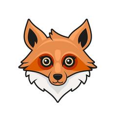 Cute fox face cartoon style on white background vector