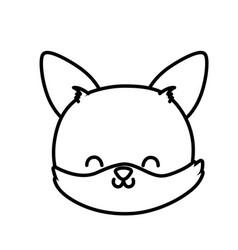 cute fox head cartoon icon thick line vector image