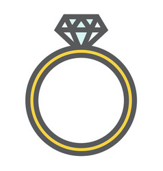 Diamond ring filled outline icon valentines day vector