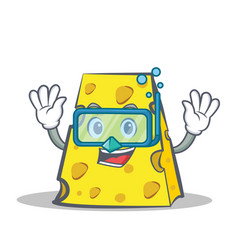 Diving cheese character cartoon style vector