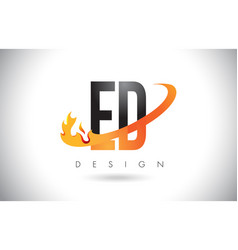 Ed e d letter logo with fire flames design and vector