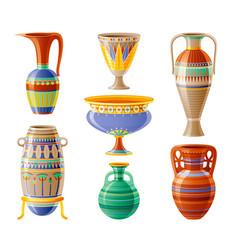 Egyptian crockery icon set vase pot amphora vector