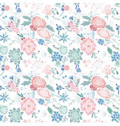 Embroidery floral pattern vector
