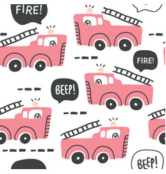 fire truck seamless pattern in scandinavian style vector image