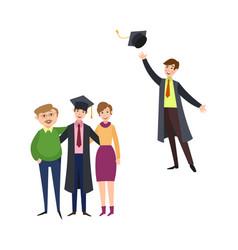 Flat graduates character scenes set vector