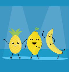 fresh fruits kawaii characters vector image