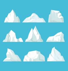 geometric icebergs set floating blocks ice in vector image