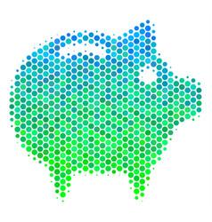 halftone blue-green piggy bank icon vector image