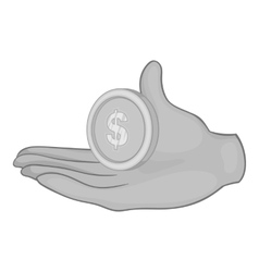 Hand holding coin icon black monochrome style vector image