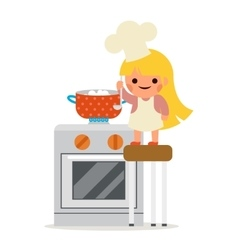 Happy Girl Cook Soup Mother Helper Little vector image