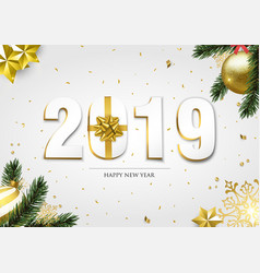 happy new year 2019 3d holiday ornament card vector image