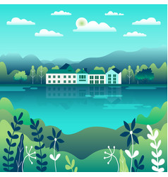 hills and mountains landscape in flat style vector image