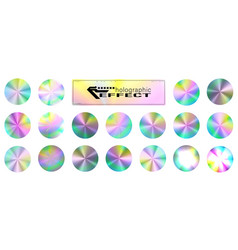 holographic glitter texture collection round vector image