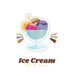 ice cream color poster menu vector image