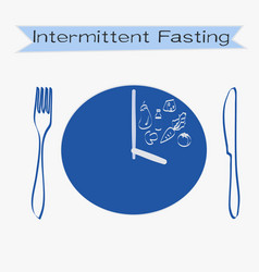Intermittent fasting concept with lettering vector