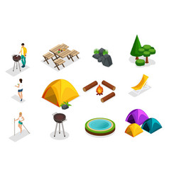 isometric set of camping icons trees vector image