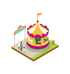 Kids carousel isometric 3d element vector