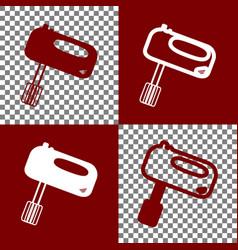 kitchen mixer sign bordo and white icons vector image