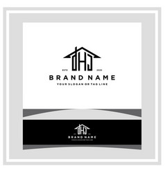Letter dhj home roof logo design and business card vector