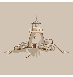 Lighthouse on a rock vector