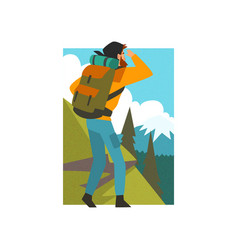 man with backpack looking into distance in summer vector image