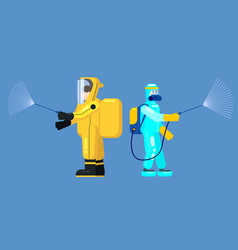 mans edical scientists in chemical protection suit vector image